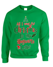 Adult Sweatshirt All I Want For Xmas Is Hogwarts Letter Holiday Top