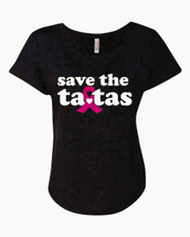 Save The Ta Tas Breast Cancer T-Shirt Ladies Triblend Dolman