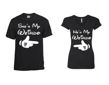He is my Weirdo  t shirt  She is my Weirdo Sporty Tee couples gift shirts