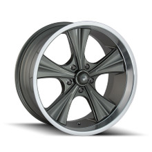 Ridler 651 Grey/Machined Lip 22X9.5 5-115 18mm 72.62mm