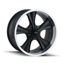 Ridler 651 Matte Black/Machined Lip 22X9.5 5-115 18mm 72.62mm