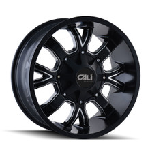Cali Off-Road Dirty Satin Black/Milled Spokes 22X10 8-165.1/8-170 -19mm 130.8mm