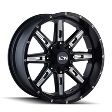 Ion 184 Satin Black/Milled Spokes 20X10 8-165.1/8-170 -19mm 130.8mm