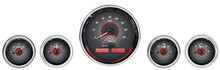 Universal Five Round Gauge VHX Analog System - Carbon Fiber and Red