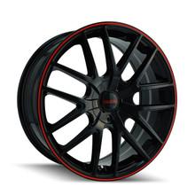 Touren 3260 Black/Red Ring 16X7 4-108/5-108 42mm 72.62mm