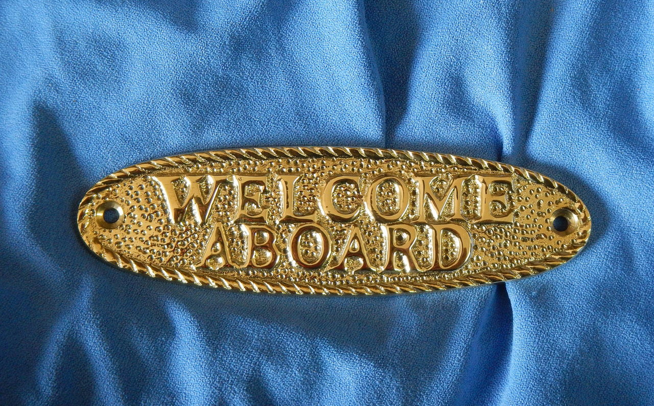 Welcome aboard boat ships life ring clock - Welcome Aboard Solid Brass Plaque