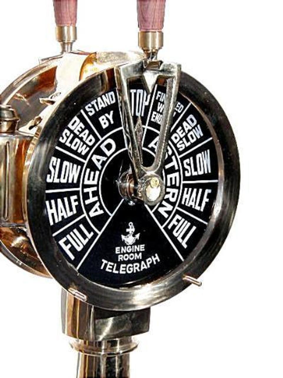 Big Ships Engine Rooms: Large Brass Ship's Engine Order Telegraph