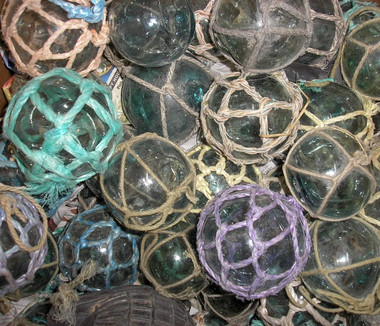 Vintage Japanese Glass Netted Fishing Balls