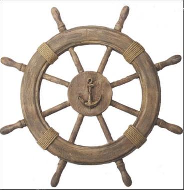 """22"""" Wood Ship's Wheel Anchor Centerpiece"""