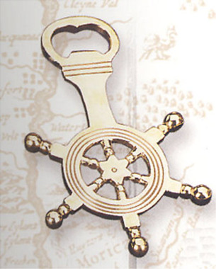 Brass Ship Wheel Bottle Opener