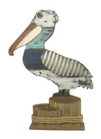 Wooden Pelican on 3D stump with stand.