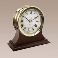 Large Brass Clock with Wooden Table Mount