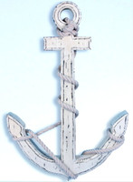 "Popular 24"" Whitewashed Wooden Anchor"