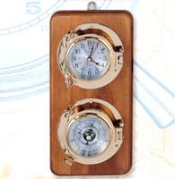 Nautical Brass Porthole Clock Barometer Set