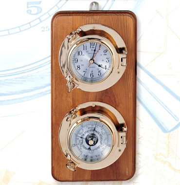 Nautical Brass Porthole Clock Barometer Set