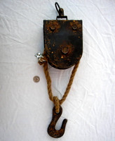 Vintage Style Metal Single Blocks and Pulley