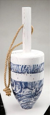 "Nautical 17"" Blue Wood Buoy Fishing Float"