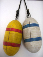 Set of 2 Nautical Wood Fishing Floats