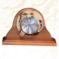Brass Porthole Desk Clock Wood Base