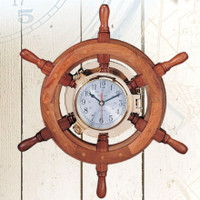 Nautical Ships Wheel PORTHOLE Clocks
