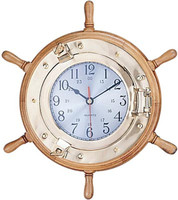 Port Hole Ships Wheel Clock