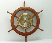Wooden Ships Wheel Porthole Clock