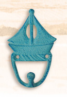 Cast Iron Sailboat Utility Hooks Blue