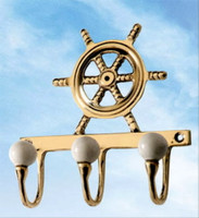 Triple Nautical Brass Ships Wheel Hook