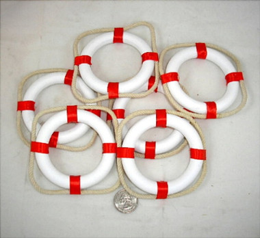 Mini White Red Life Preservers Ring Buoys