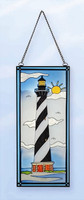 Stain Glass Lighthouse Seabirds