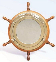 "Large 24"" Nautical Mirror Ship Wheel"