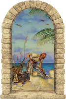 Pirate Banking Window Mural Peel Stick