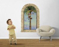 Pirate Parrot Palm Window Peel Stick