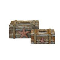 Coastal Decoration 2/Set Wooden Chests