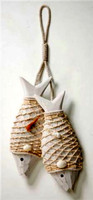 Wooden Fish in Nets Seashell Décor