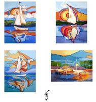 Unique Blank Sailing Notecards - C