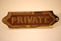 "7"" Wood & Brass PRIVATE Plaque Sign"