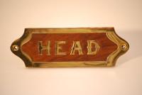 Wood & Brass HEAD Door Plaque