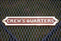 Wood Brass Crews Quarters Plaque Sign