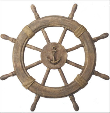 "22"" Wood Ship's Wheel Anchor Centerpiece"