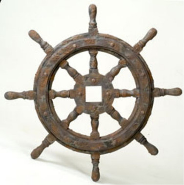 Distressed Ships Wheel Decor