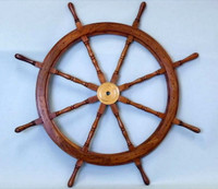 "48"" Nautical Wood Decorative Ship Wheel"