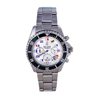 Men's White Nautical Flag Dial