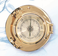 Nautical Brass Porthole Style Thermometers