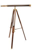 "40"" Leather Over Brass Nautical Floor Telescope"