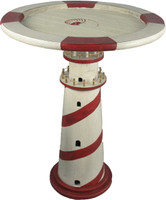 Distressed Red White Lighthouse Table