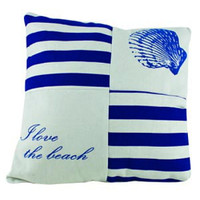 I Love the Beach Nautical Pillow