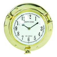 9 Inch Brass Ship's Porthole Clocks
