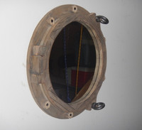 "17"" Coastal Decor Wooden Ships Porthole Mirror"