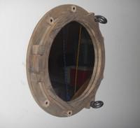 """17"""" Coastal Decor Wooden Ships Porthole Mirror"""